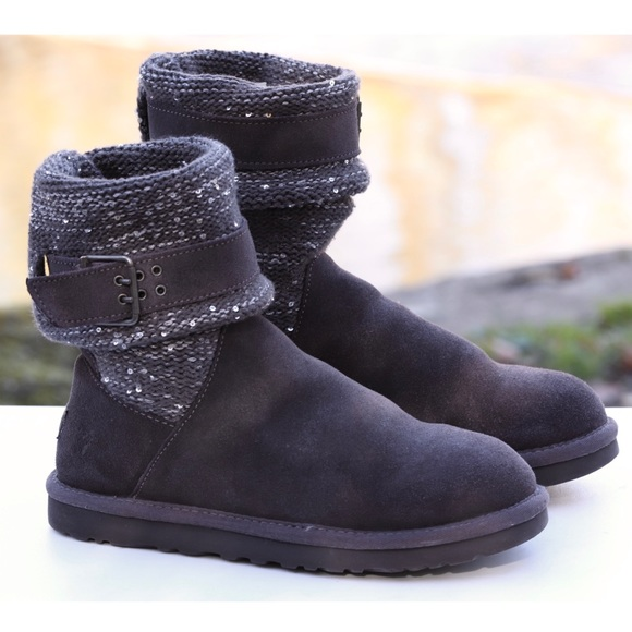 UGG Shoes - UGG Gray Leather & Knit Sequin Buckle Boots